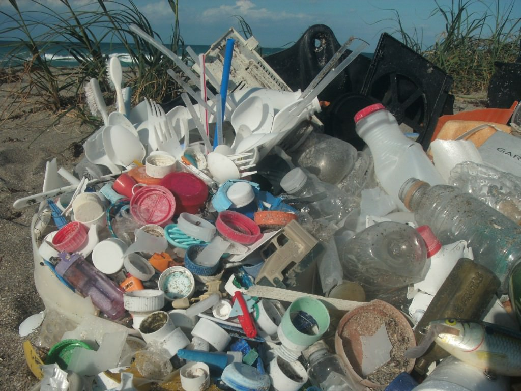 Pile of single-use plastic debris from the ocean