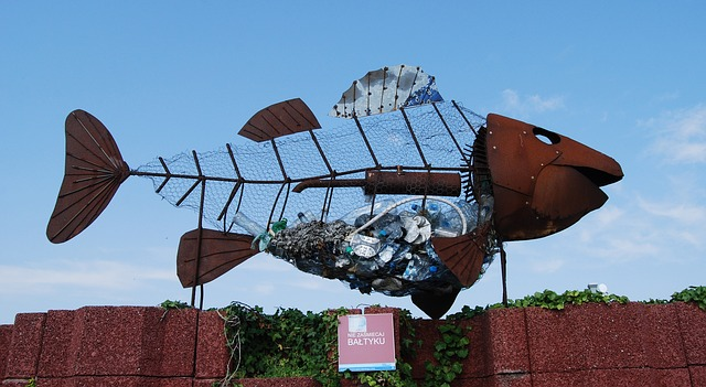 Metal and Trash Sculpture of a Fish